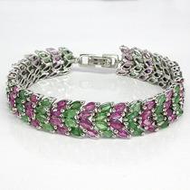 Pulseira Bracelete Em Prata Com Esmeraldas E Rubis Naturais