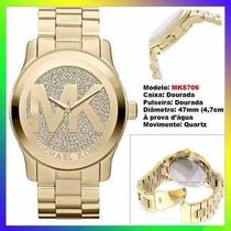 Relógio Michael Kors Mk5706 Dourado 47mm Oversized Original!