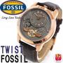 Relógio Original Fossil Me1114 Couro Marrom Rose Gold No Br