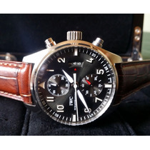 Relógio Eta Modelo Iwc Sptifire Chronograph Silver 42mm