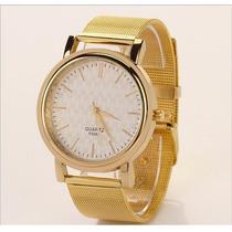 Relógio Analógico Feminino Dourado Novo Pronta Entrega