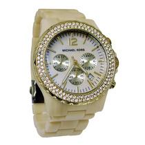 Relógio Luxo Michael Kors Mk5558 Orig Chron Anal Mdre Perola