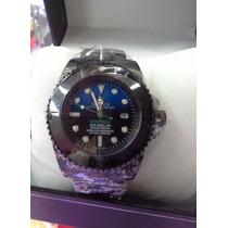 Relógio Deepsea Preto Bi-color Safira Acab. Eta Caixa Manual