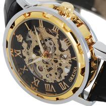 Relógio Esqueleto Orkina Luxo Mecânico Automático