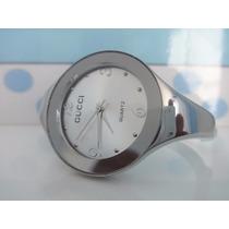 Relógio Gucci Bracelete Feminino Super Luxo Prata