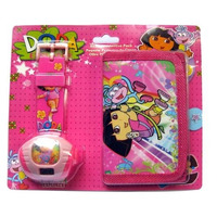 Relógio Infantil Projetor Com Carteira Dora Aventureira