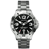 Relógio Nautica A14544g Mens Bfd 101 Black Silver Watch