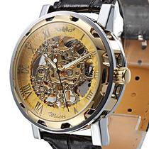 Relógio Mecânico Skeleton Dourado Luxo Pulseira Couro