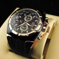 Relógio Grande V6 Dourado Sport Frete Grátis