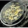 Relógio Winner Skeleton Preto Dourado Caixa Transparente