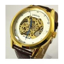 Relógio Pulso Clássico Luxo Dourado Branco Automático Skelet