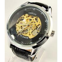 Relógio Skeleton Clássico Omeijia 1000 Luxo Pulseira Couro