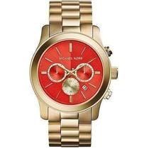 Relógio Michael Kors Mk5930 Gold Red 47mm Oversized Novo !