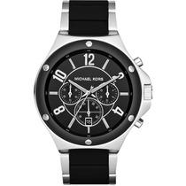 Relógio Luxo Michael Kors Mk8272 Orig Chron Anal Prata Black