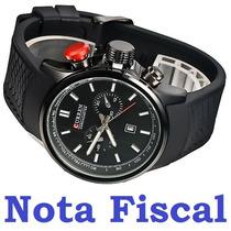 Relógio Pulso Curren 8175 Original Pulseira Silicone Preto