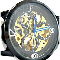 Relógio Automático Mecânico Winner Caixa Transparente Couro