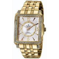 Relógio Champion Feminino Dourado Quadrado Cn28697h
