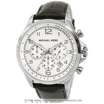 Relógio Luxo Michael Kors Mk8114 Orig Chron Anal Couro Leg!!