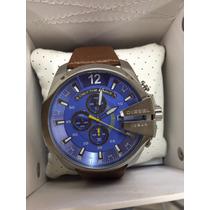 Relógio Diesel Azul Prata Puls Couro Sedex Gratis Garantia