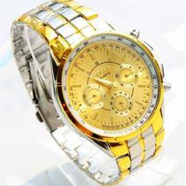 Relógio Rosra Branco E Dourado Aço Analógico