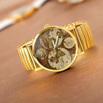 Relógio Feminino Dourado Pulseira Elastica Ouro Geneva