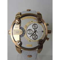 Relógio Diesel Dz7273 Branco/ Dourado Pulseira Em Couro