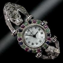 Relógio De Prata 925 Com Rubis,safiras E Esmeraldas Naturais