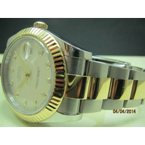 Rolex 41mm Misto Com Diamantes No Dial