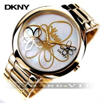Relógio Dkny Feminino Ouro Donna Karan Dourado Flores Novo