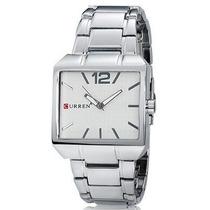 Relógio Masculino Quadrado Curre Fundo Branco Aço Inox