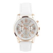 Relógio Feminino De Pulso Luxo Couro Branco Dourado Mulher