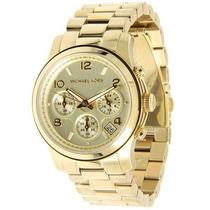 Relógio Michael Kors Mk5055 Dourado Lindo Com Caixa E Manual