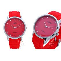 Relógio Feminino Exato Silicone Strass Vermelho Prata Novo