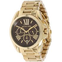 Relógio Michael Kors Mk5502 Dourado E Marrom Caixa E Manual.