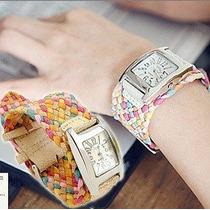 Relógio Feminino, Trançado, Colorido, Moda, Verão.