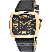 Relógio Masculino Italiano Just Cavalli Preto Dourado Couro