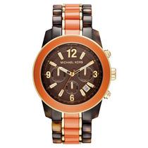 Relógio Luxo Michael Kors Mk5765 Orig Chron Anal Brown Orang
