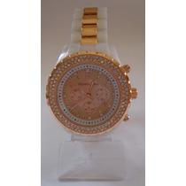 Relógio Feminino Dourado Com Strass! ***modelo Novo