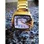 Relógio Importado Quadrado Dourado D Z - Impactante