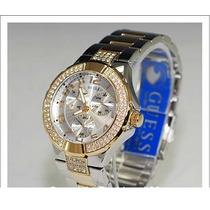 Relógio Guess Two Tone Prism Swarovski Steel U14007l1