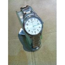 Lindo E Elegante Timex Indiglo Social Em Aço Fundo Branco
