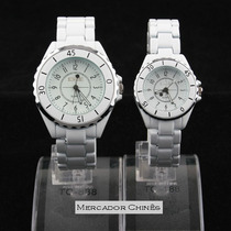 Relógio Casal Fashion Sinobi Stainless Steel Branco Quartz