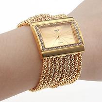 Relógio Feminino Tipo Bracelete, Folheado .