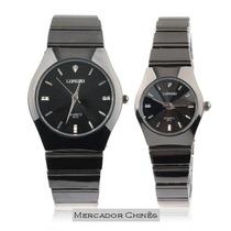 Relógio Casal Fashion Longbo Stainless Steel Preto Quartz