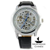 Relógio Winner Skeleton Automático Com Mostrador Prata