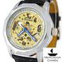 Relógio Winner Skeleton Automático Com Mostrador Dourado