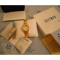 Relógio Feminino Zeitner Folhead Ouro Mostrador 11 Diamantes