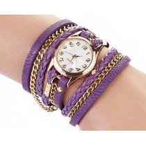 Bracelete De Relógio De Couro Roxo Com Correntinha
