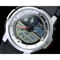 Relógio Casio Aqf102 Resina Branco Timer Termômetro