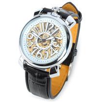 Relógio Cjiaba Com Pulseira De Couro Pu Mecânico